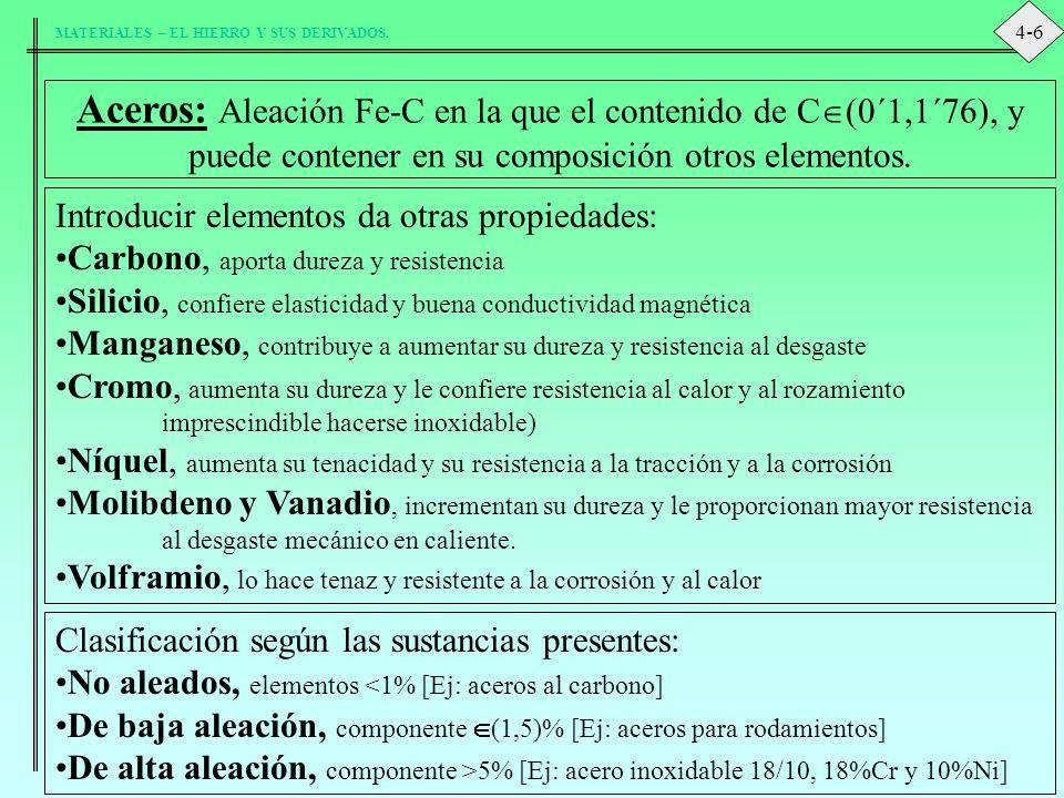 4-6 Aceros: Aleación Fe-C en la que el contenido de C(0´1,1´76), y puede contener en su composición otros elementos.