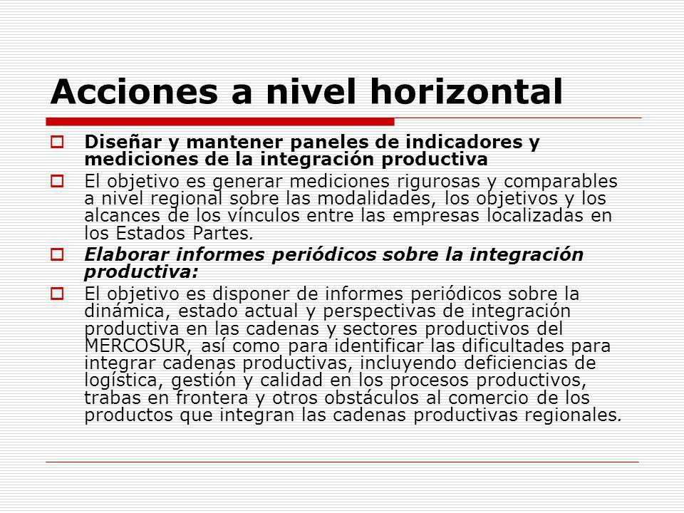 Acciones a nivel horizontal