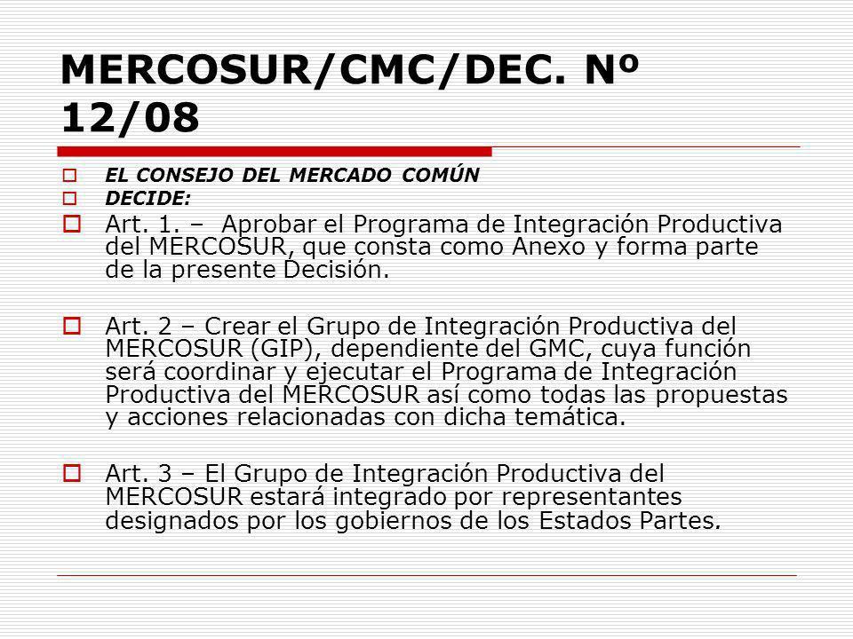 MERCOSUR/CMC/DEC. Nº 12/08 EL CONSEJO DEL MERCADO COMÚN. DECIDE: