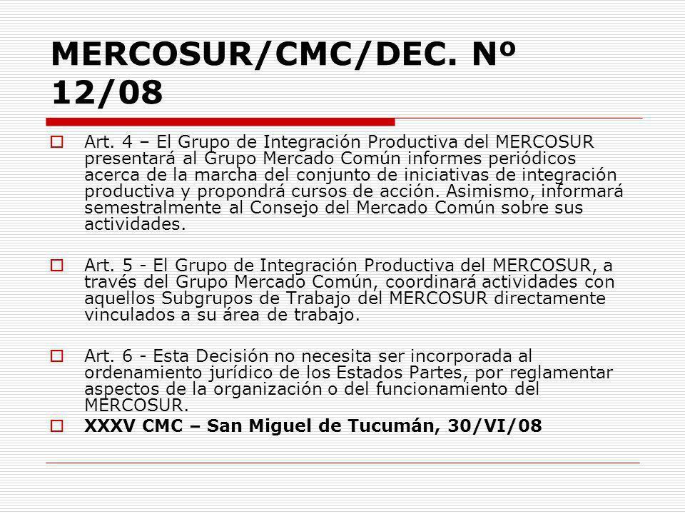 MERCOSUR/CMC/DEC. Nº 12/08