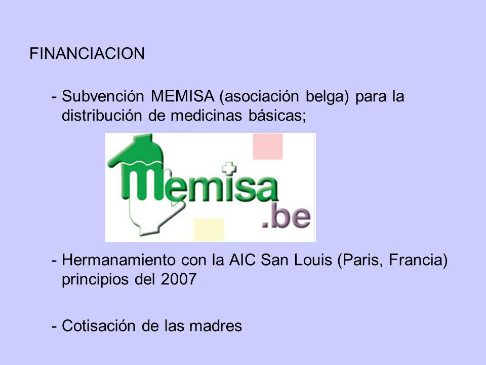 FINANCIACION - Subvención MEMISA (asociación belga) para la distribución de medicinas básicas;