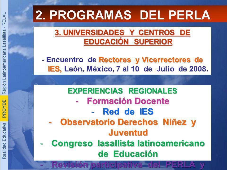 2. PROGRAMAS DEL PERLA Formación Docente Red de IES