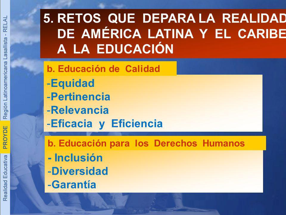 5. RETOS QUE DEPARA LA REALIDAD DE AMÉRICA LATINA Y EL CARIBE A LA EDUCACIÓN