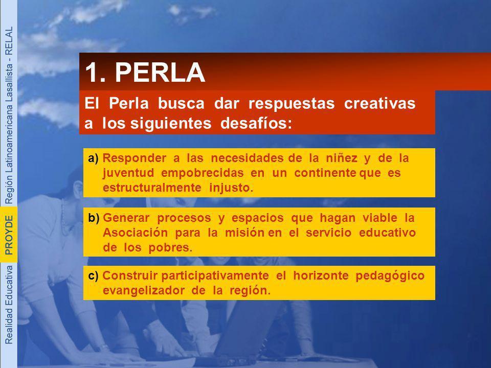1. PERLA El Perla busca dar respuestas creativas a los siguientes desafíos: