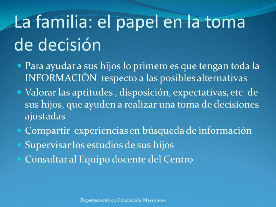 La familia: el papel en la toma de decisión