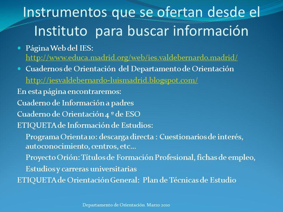Instrumentos que se ofertan desde el Instituto para buscar información