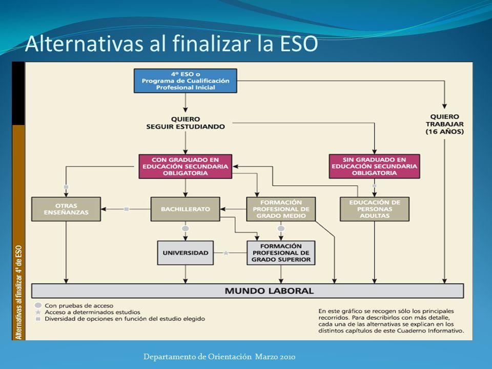 Alternativas al finalizar la ESO
