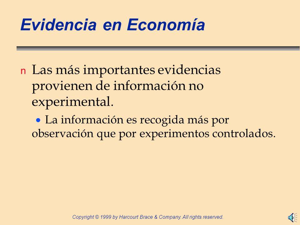 Evidencia en Economía Las más importantes evidencias provienen de información no experimental.