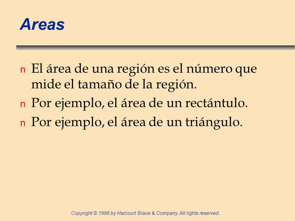 Areas El área de una región es el número que mide el tamaño de la región. Por ejemplo, el área de un rectántulo.