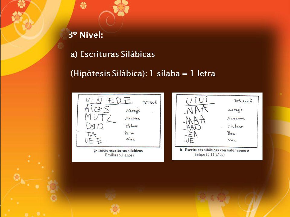 3º Nivel: a) Escrituras Silábicas (Hipótesis Silábica): 1 sílaba = 1 letra