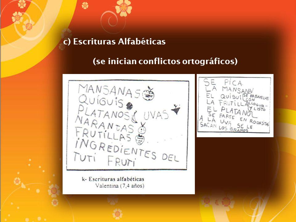 c) Escrituras Alfabéticas (se inician conflictos ortográficos)