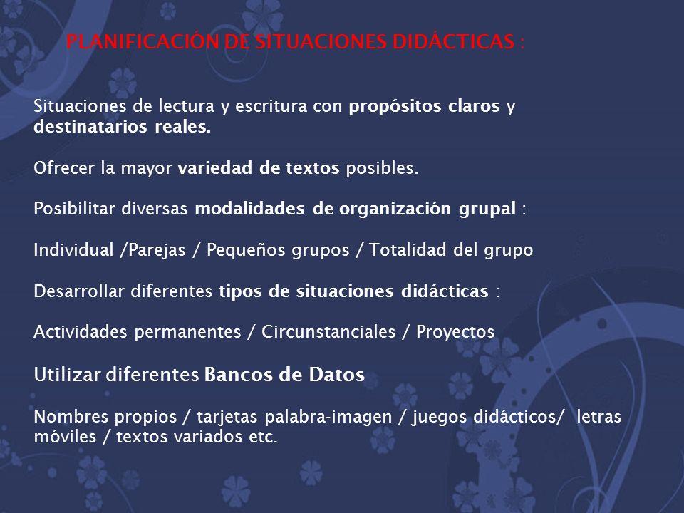 PLANIFICACIÓN DE SITUACIONES DIDÁCTICAS :