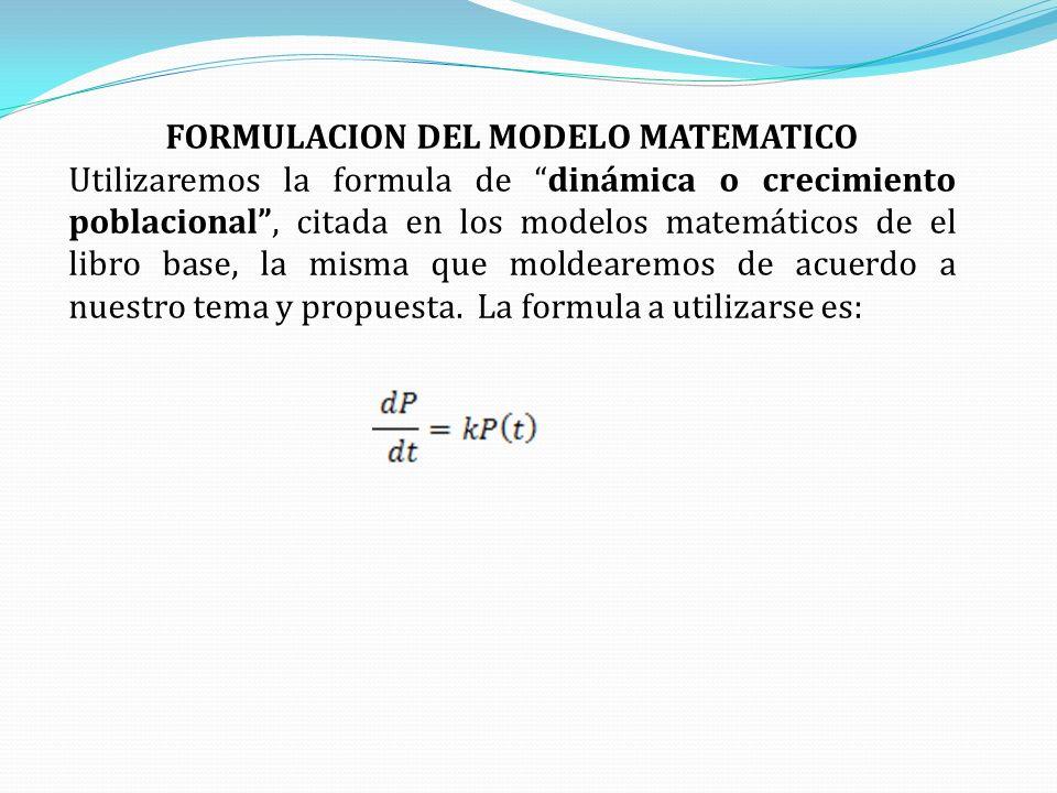 FORMULACION DEL MODELO MATEMATICO