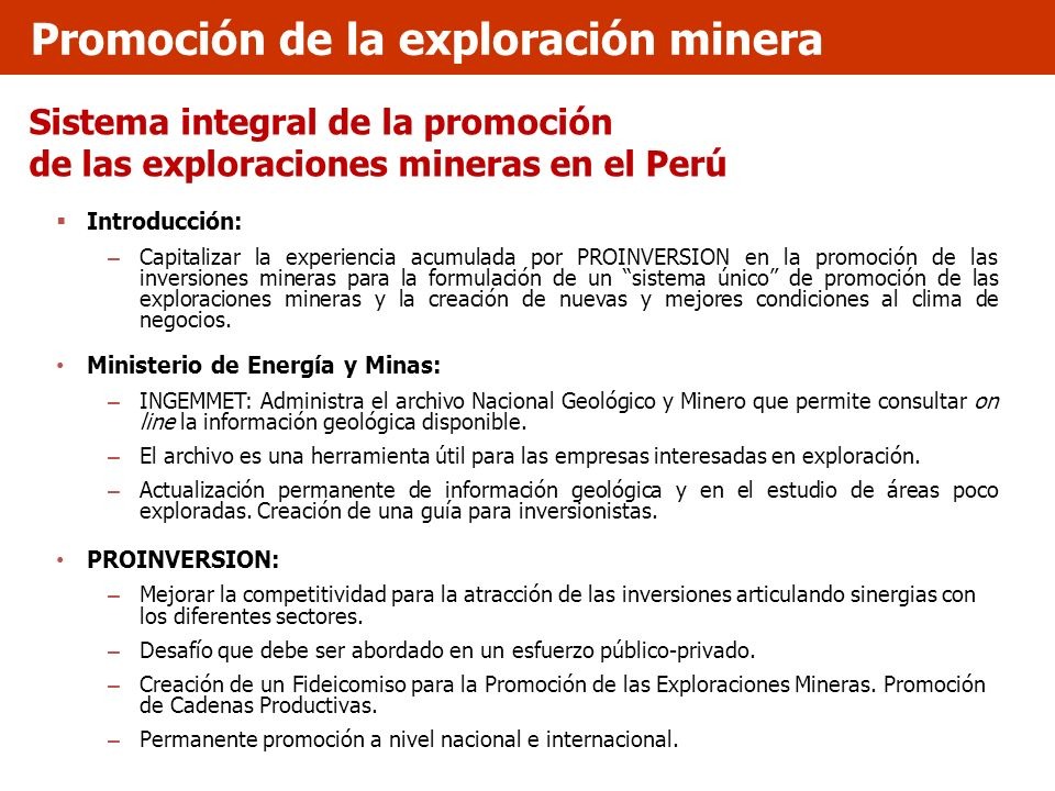 Promoción de la exploración minera