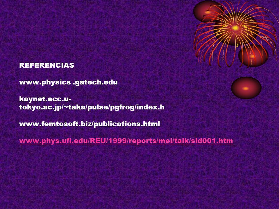 REFERENCIAS www. physics. gatech. edu kaynet. ecc. u- tokyo. ac