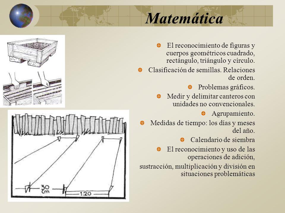 Matemática El reconocimiento de figuras y cuerpos geométricos cuadrado, rectángulo, triángulo y círculo.