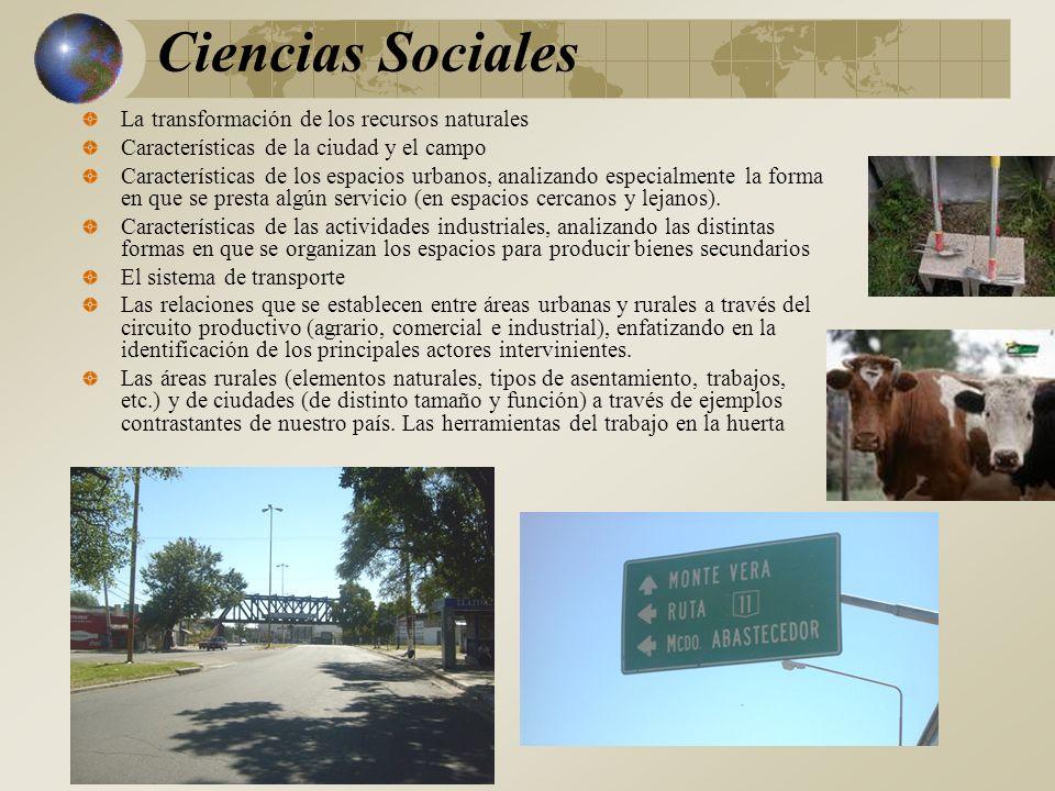 Ciencias Sociales La transformación de los recursos naturales