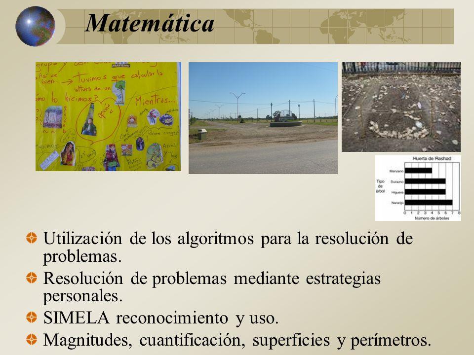 Matemática Utilización de los algoritmos para la resolución de problemas. Resolución de problemas mediante estrategias personales.