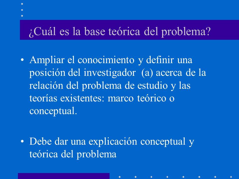 ¿Cuál es la base teórica del problema