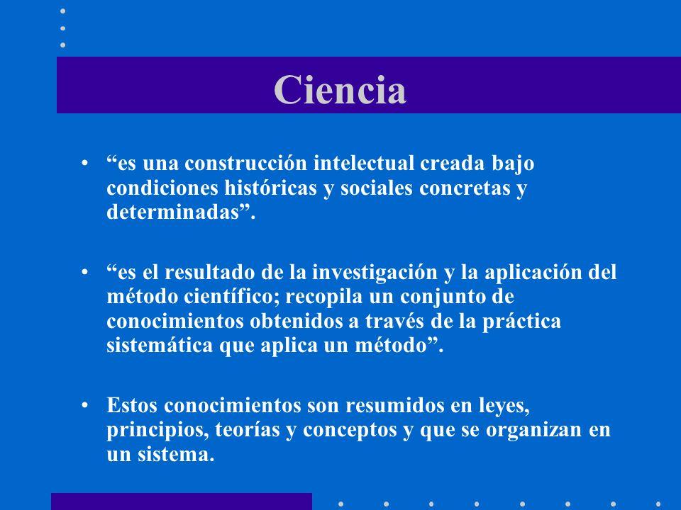Ciencia es una construcción intelectual creada bajo condiciones históricas y sociales concretas y determinadas .
