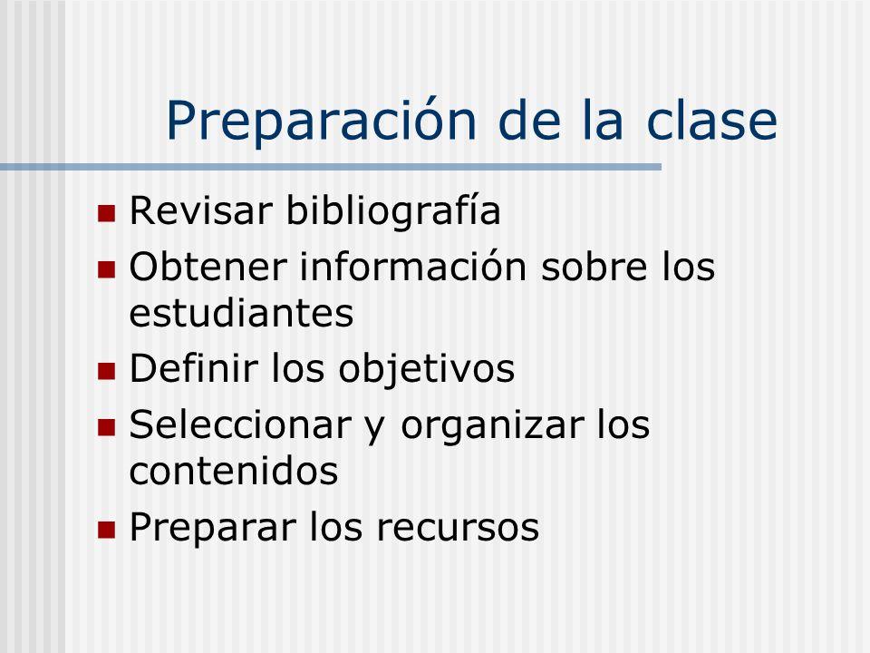 Preparación de la clase