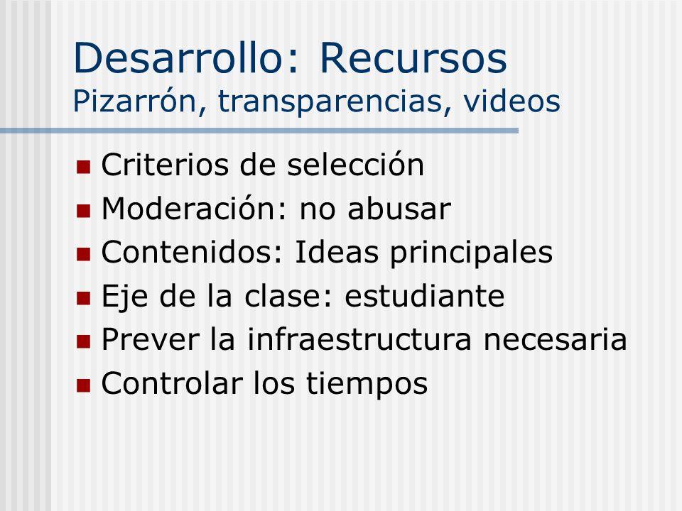 Desarrollo: Recursos Pizarrón, transparencias, videos