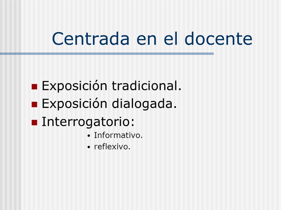 Centrada en el docente Exposición tradicional. Exposición dialogada.
