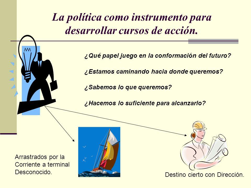 La política como instrumento para desarrollar cursos de acción.