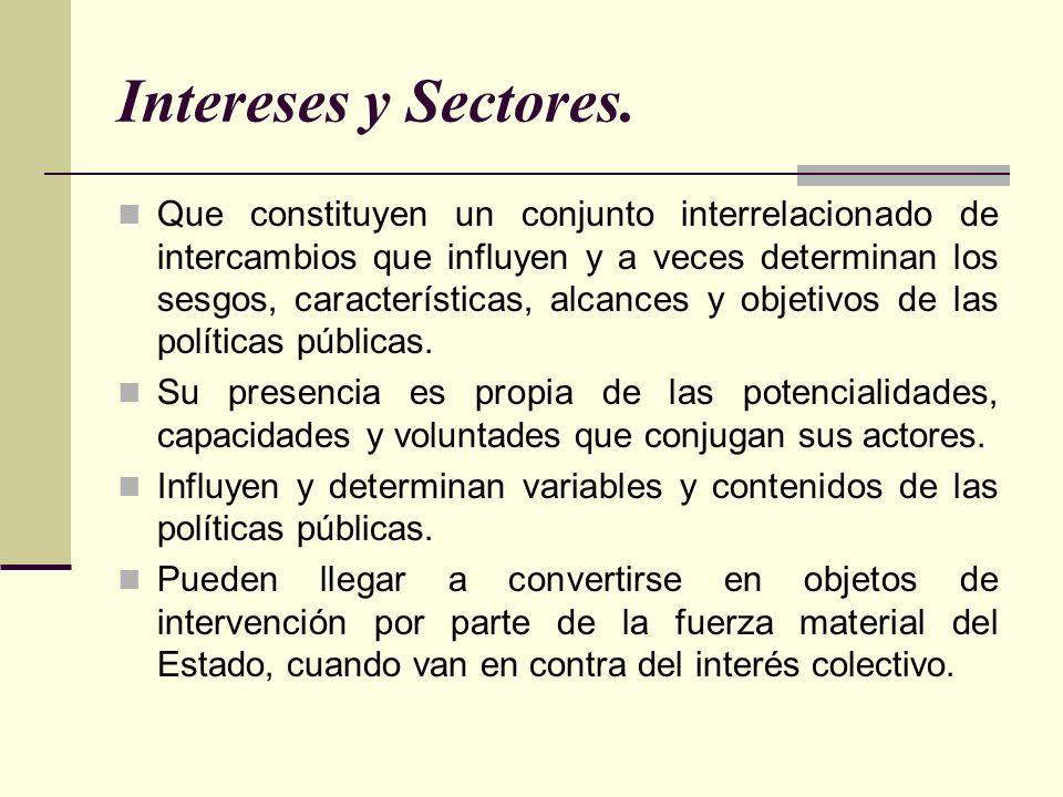 Intereses y Sectores.