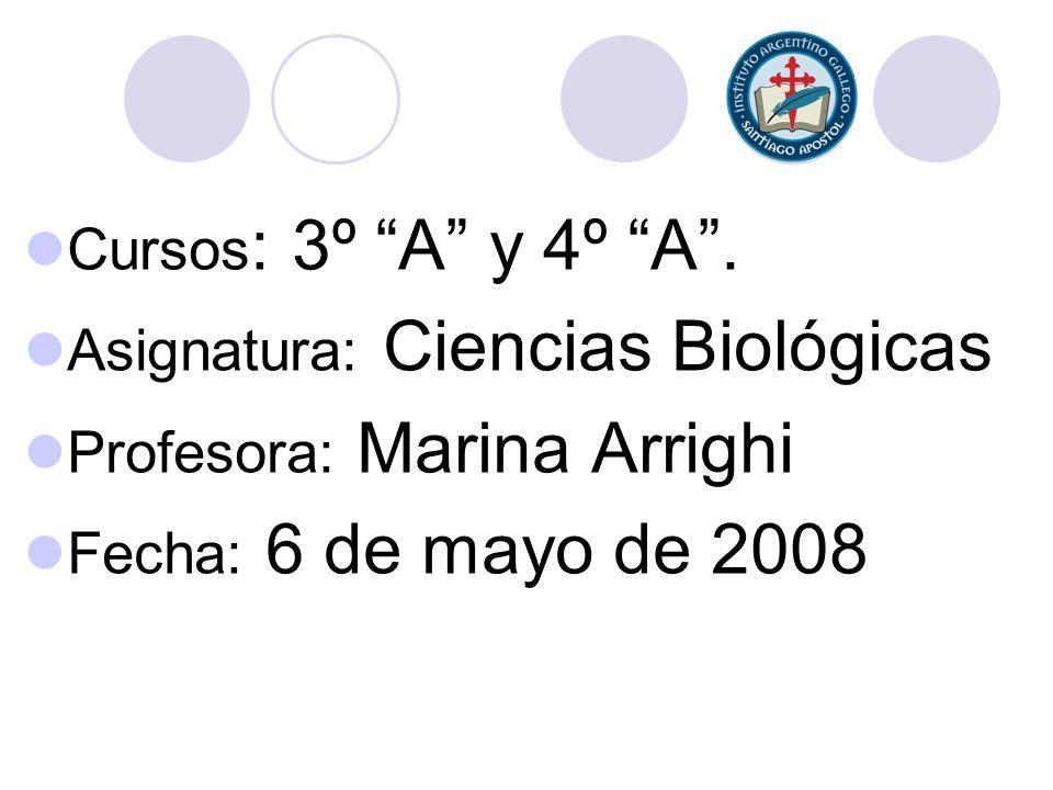 Cursos: 3º A y 4º A . Asignatura: Ciencias Biológicas.