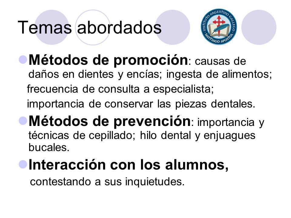 Temas abordados Métodos de promoción: causas de daños en dientes y encías; ingesta de alimentos; frecuencia de consulta a especialista;