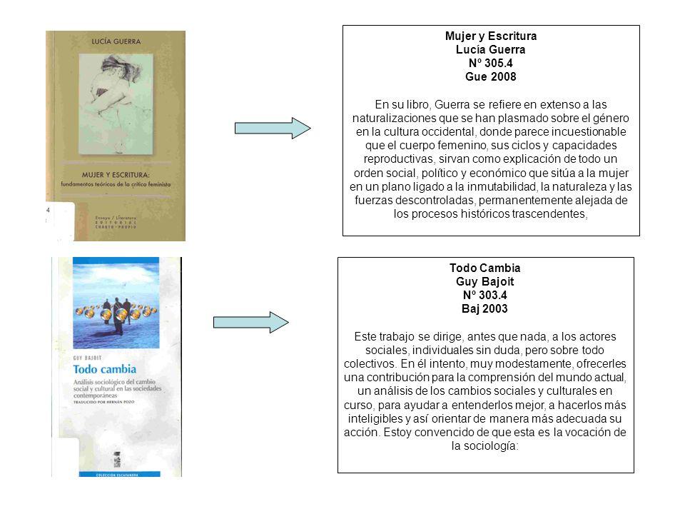 Mujer y Escritura Lucía Guerra. Nº 305.4. Gue 2008.