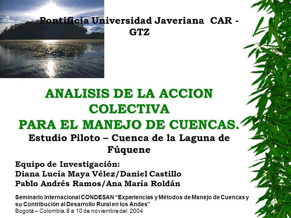 ANALISIS DE LA ACCION COLECTIVA PARA EL MANEJO DE CUENCAS.
