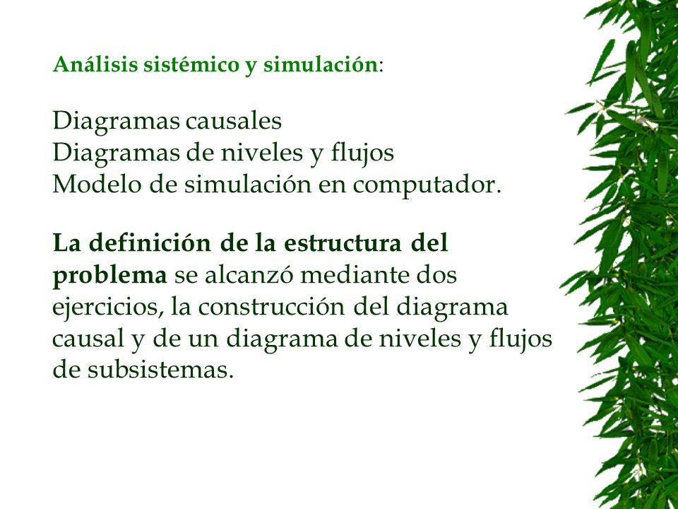 Análisis sistémico y simulación: Diagramas causales Diagramas de niveles y flujos Modelo de simulación en computador.