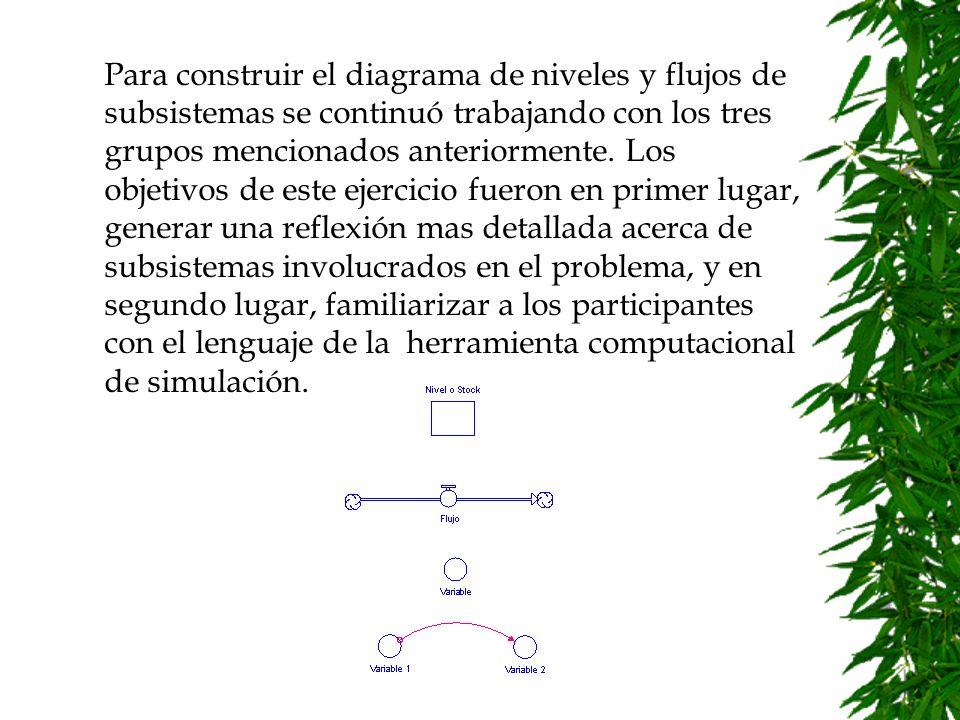 Para construir el diagrama de niveles y flujos de subsistemas se continuó trabajando con los tres grupos mencionados anteriormente.