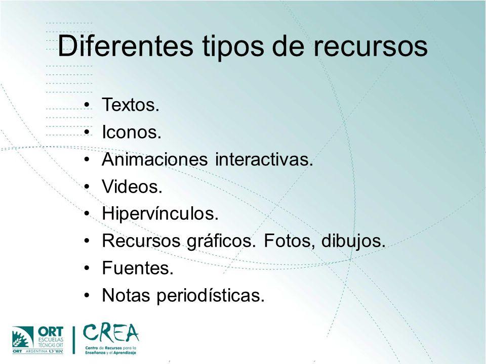 Diferentes tipos de recursos