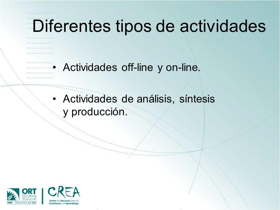 Diferentes tipos de actividades