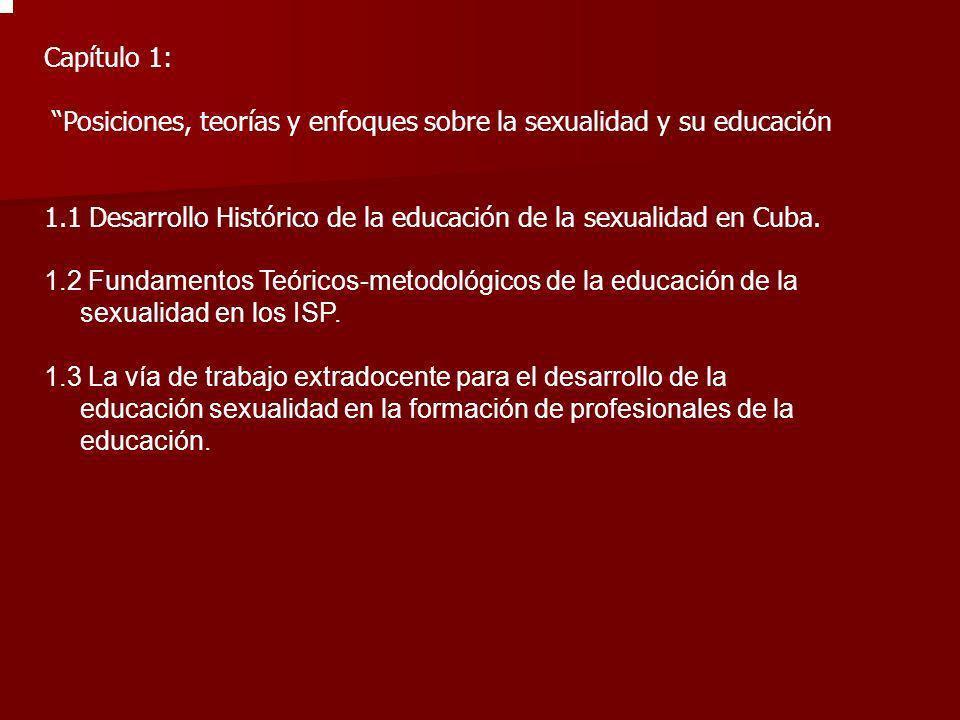 Capítulo 1: Posiciones, teorías y enfoques sobre la sexualidad y su educación. 1.1 Desarrollo Histórico de la educación de la sexualidad en Cuba.