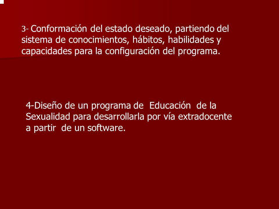 3- Conformación del estado deseado, partiendo del sistema de conocimientos, hábitos, habilidades y capacidades para la configuración del programa.