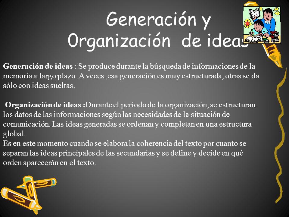 Generación y 0rganización de ideas