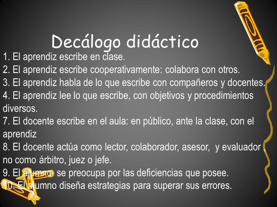 Decálogo didáctico 1. El aprendiz escribe en clase.