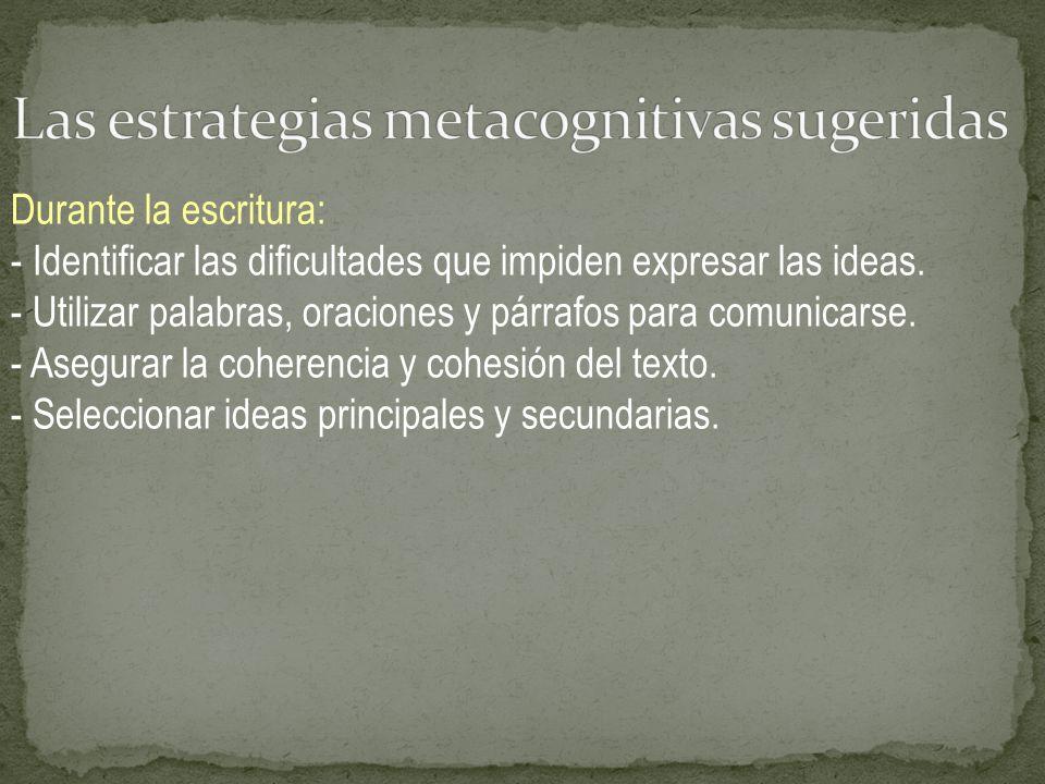 Las estrategias metacognitivas sugeridas