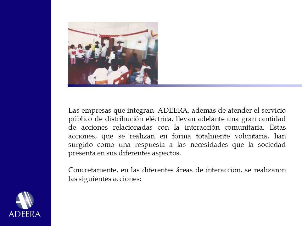 Las empresas que integran ADEERA, además de atender el servicio público de distribución eléctrica, llevan adelante una gran cantidad de acciones relacionadas con la interacción comunitaria. Estas acciones, que se realizan en forma totalmente voluntaria, han surgido como una respuesta a las necesidades que la sociedad presenta en sus diferentes aspectos.