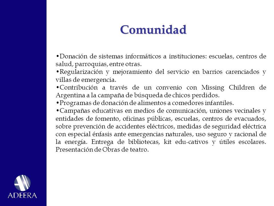 Comunidad Donación de sistemas informáticos a instituciones: escuelas, centros de salud, parroquias, entre otras.