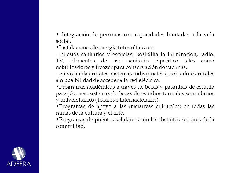 • Integración de personas con capacidades limitadas a la vida social.