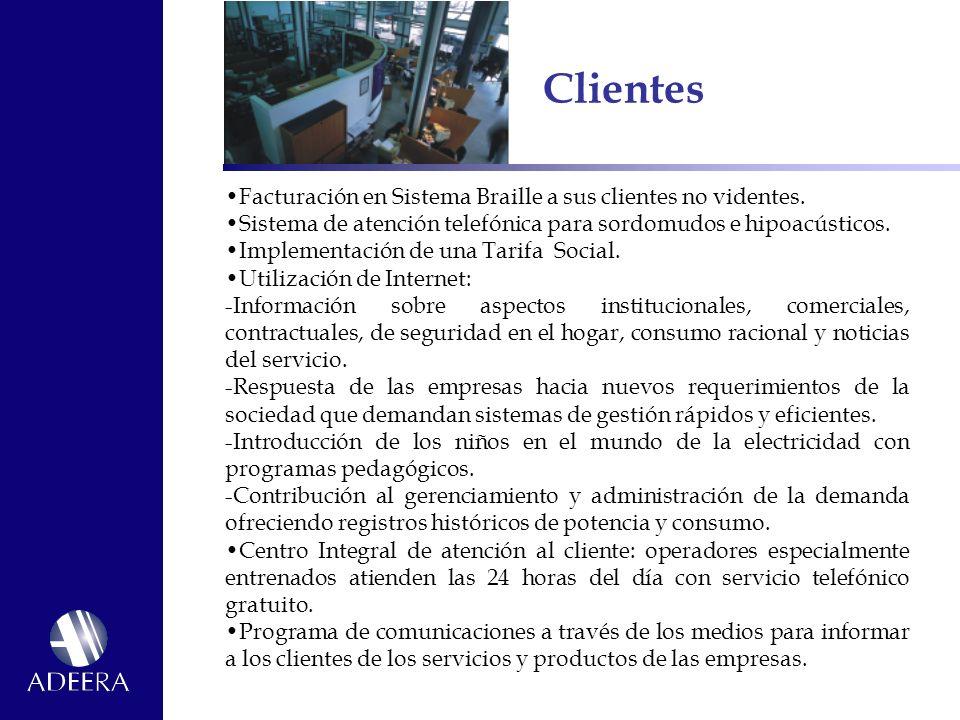 Clientes Facturación en Sistema Braille a sus clientes no videntes.