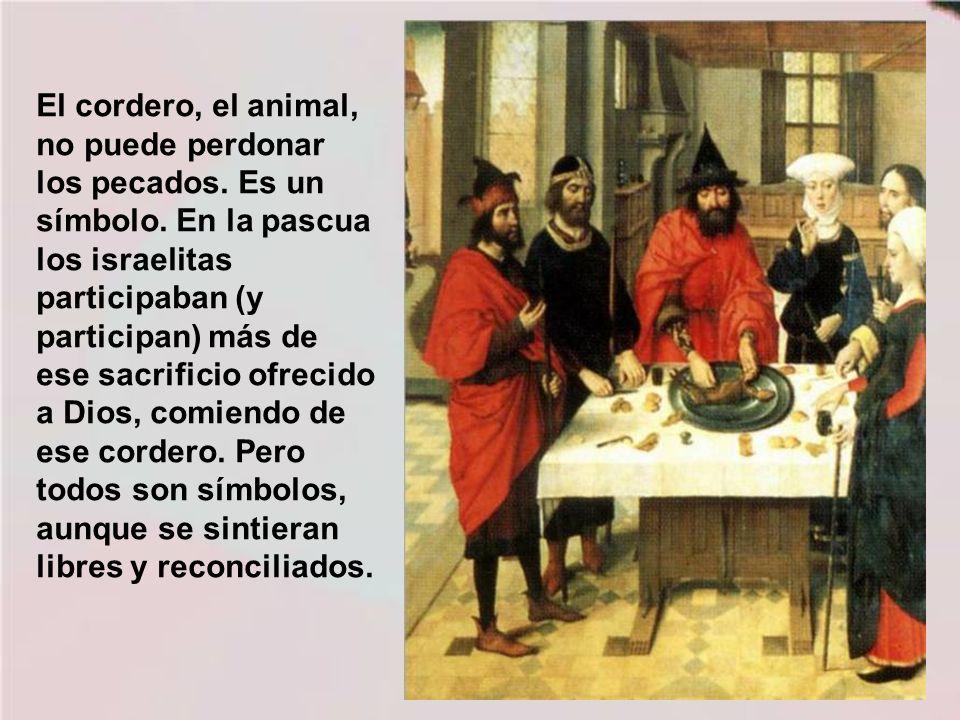El cordero, el animal, no puede perdonar los pecados. Es un símbolo