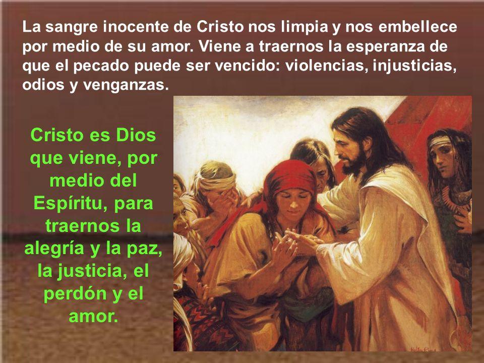 La sangre inocente de Cristo nos limpia y nos embellece por medio de su amor. Viene a traernos la esperanza de que el pecado puede ser vencido: violencias, injusticias, odios y venganzas.