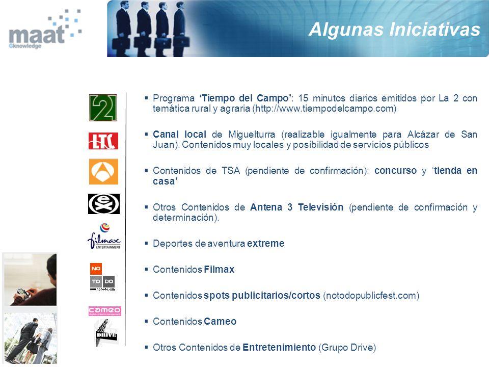 Algunas Iniciativas Programa 'Tiempo del Campo': 15 minutos diarios emitidos por La 2 con temática rural y agraria (http://www.tiempodelcampo.com)