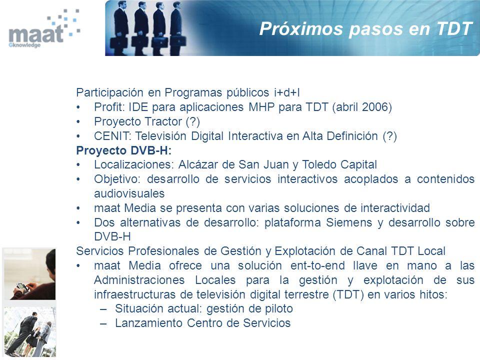 Próximos pasos en TDT Participación en Programas públicos i+d+I